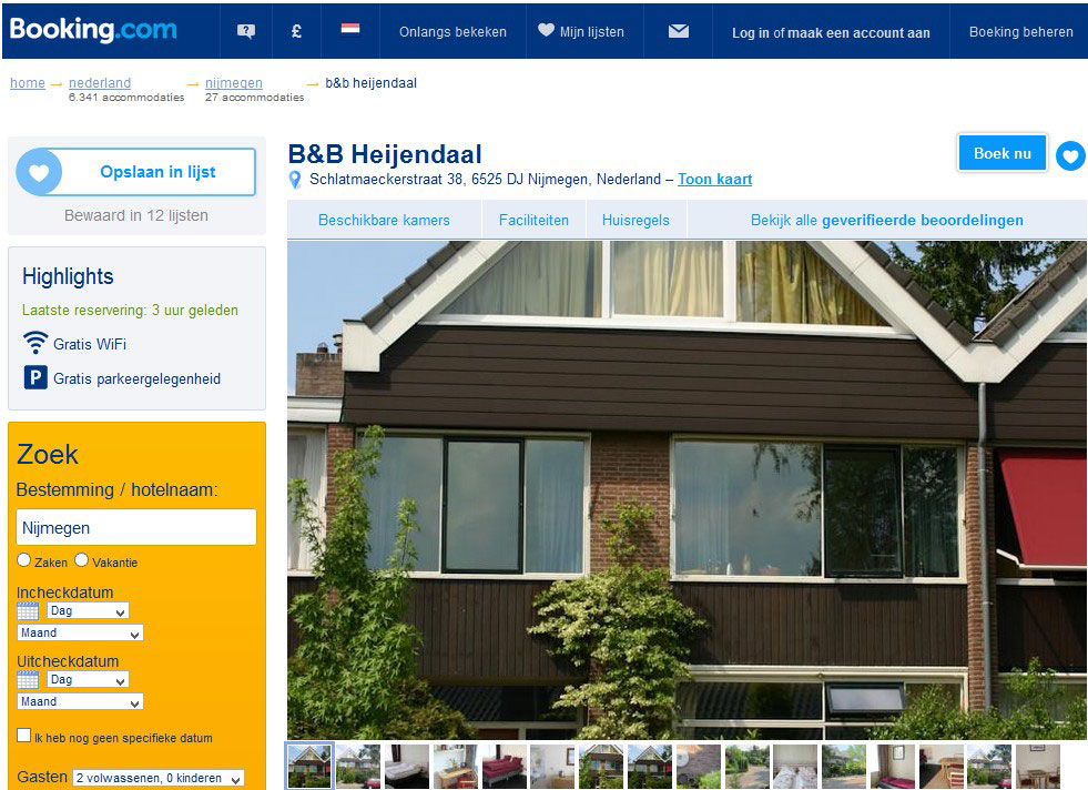 bed and breakfast nijmegen heyendaal
